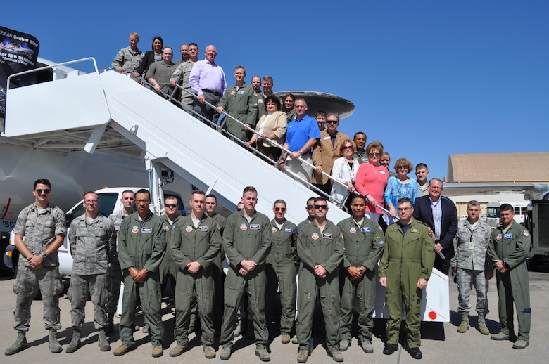 Members of the 552nd Air Control Wing's Honorary Commander's Program pose with their commanders and members of the E-3 Sentry static display crew at the conclusion of their tour Sept. 28. (Air Force photo by Ron Mullan)