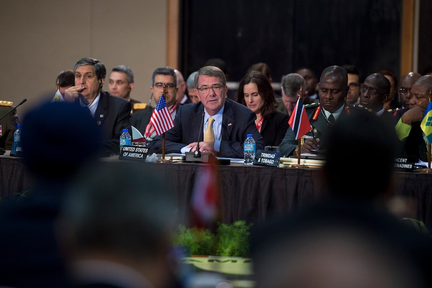 Defense Secretary Ash Carter speaks during the Conference of Defense Ministers of the Americas.