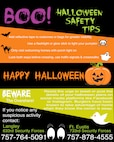 Joint Base Langley-Eustis Halloween safety infographic. (U.S. Air Force graphic by Airman 1st Class Kaylee Dubois)