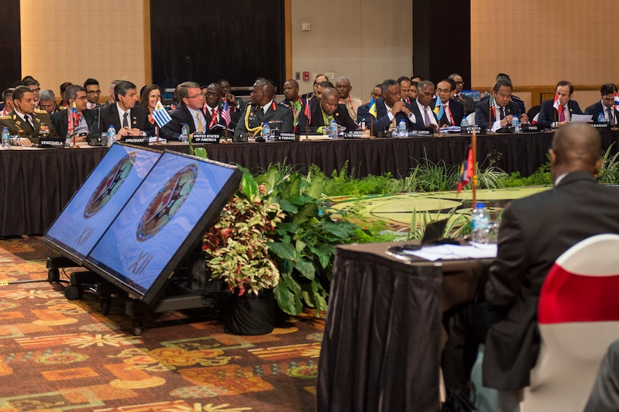 Defense Secretary Ash Carter participates in the Conference of the Defense Ministers of the Americas.