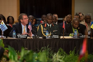 Defense Secretary Ash Carter speaks during the Conference of Defense Ministers of the Americas in Port-of-Spain, Trinidad and Tobago, Oct. 11, 2016. DoD photo by Air Force Tech. Sgt. Brigitte N. Brantley