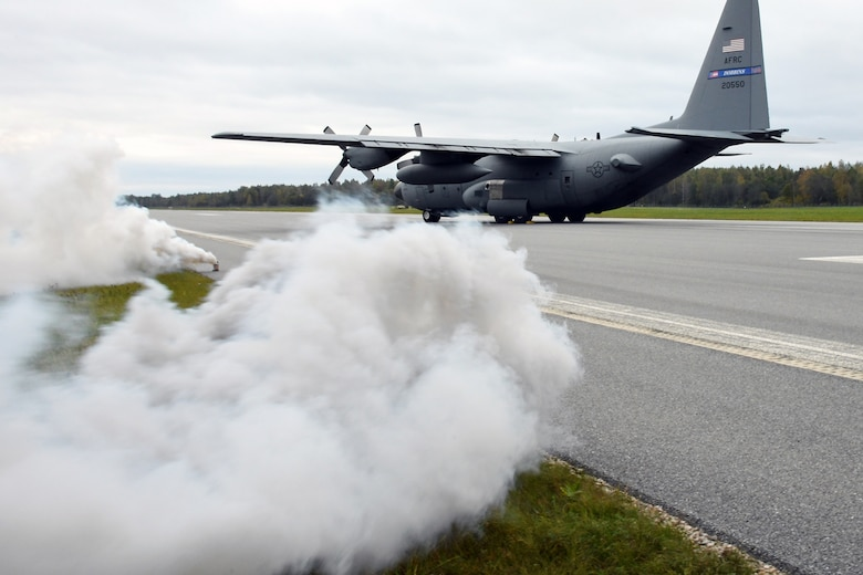 A C-130H from the 94th Airlift Wing, Dobbins Air Reserve Base, Ga., is positioned on the runway in a simulated crash at Lielvarde Air Base, Latvia, during Sky Fist, Oct. 6, 2016. Sky Fist was a bilateral aircraft mishap training exercise designed to strengthen the partnership between the U.S. and Latvia. (U.S. Air Force photo by Staff Sgt. Alan Abernethy)
