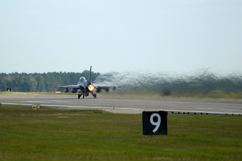 An F-16CM Fighting Falcon assigned to the 20th Fighter Wing takes off from Shaw Air Force Base, S.C., Oct. 6, 2016. The F-16s were evacuated to avoid any damage that could have been caused by Hurricane Matthew. (U.S. Air Force photo by Airman 1st Class Kelsey Tucker)