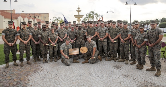 Marines with Special Purpose Marine Air-Ground Task Force Crisis Response-Africa pose for a group photo after their graduation from Corporals Course at Naval Air Station Sigonella, Italy, September 28, 2016. Thirty-five Marines with SPMAGTF-CR-AF completed the three-week course which included classes on land navigation, sword and guidon manual, fire team and squad formations, and included opportunities to develop the NCO's mentoring and leadership skills.  (U.S. Marine Corps photo by 1st Lt. Eric Abrams/released)