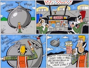 Pope's Puns cartoon, separation makes the heart grow fonder. Humor for the Airmen.