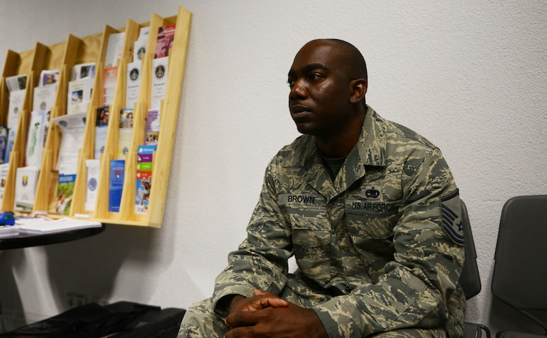 Master Sgt. James Michael Brown III, 86th Logistics Readiness Squadron Installation Deployment Reception Center aerial support function section chief, listens to a National Disability Employment Awareness Month dialogue at Ramstein Air Base, Germany, Oct. 7, 2016. NDEAM aims to give voice to those who have seek employment but are marginalized and discriminated because of their disabilities. (U.S. Air Force photo by Airman 1st Class Joshua Magbanua)