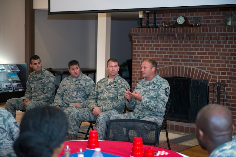 U.S. Air Force Senior Master Sgt. Jeffrey Zimmerman, 75th Aircraft Maintenance Unit superintendent, talks during a maintainer panel during the first installment of the Emerge Moody program, Oct. 6, 2016, at Moody Air Force Base, Ga. The open forum allowed participants to ask maintainers of the 23d Aircraft Maintenance Squadron the highlights and challenges of their career field. (U.S. Air Force photo by Airman 1st Class Greg Nash)