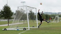 U.S. Air Force Senior Airman Bruno Falcone, 7th Aerospace Medicine Squadron dental assistant, blocks a goal at South Texas Area Regional Soccer Complex in San Antonio, Texas, Sept. 5, 2016. The Dyess Varsity soccer team ended the Defender's National Military Soccer Tournament 2nd out of the 38 participating Air Force teams, and 4th out of all 46 Department of Defense teams. (Courtesy photo by Patricia Moreno)