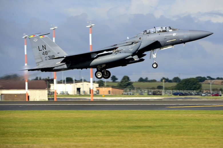 An F-15E Strike Eagle from the 492nd Fighter Squadron takes off for a sortie in support of Noble Arrow 16 at Royal Air Force Lakenheath, England Oct. 11. The training prepares all air forces allocated to the NATO Response Force 2017 and offers similar training opportunities for participating, non-NRF, air units. (U.S. Air Force photo/ Senior Airman Malcolm Mayfield)