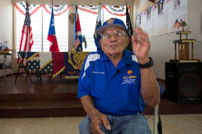 Vietnam and Korean War veteran Army Reservist Gilberto Luciano Padilla speaks about his military experience during an interview in Cabo Rojo, Puerto Rico, Aug. 10, 2016. DoD photo by EJ Hersom