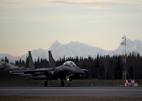 A Republic of Korea Air Force (ROKAF) F-15K Slam Eagle multi-role fighter aircraft takes off from Eielson Air Force Base, Alaska, Oct. 10, 2016, during the first RED FLAG-Alaska (RF-A) 17-1 combat training mission. RF-A is a series of Pacific Air Forces commander-directed field training exercises vital to maintaining peace and stability in the Indo-Asia-Pacific region, and providing U.S. units and partner nation forces like the ROKAF the opportunity to sharpen their combat skills and strengthen interoperability in a realistic threat environment inside the Joint Pacific Alaska Range Complex. (U.S. Air Force photo by Master Sgt. Karen J. Tomasik)