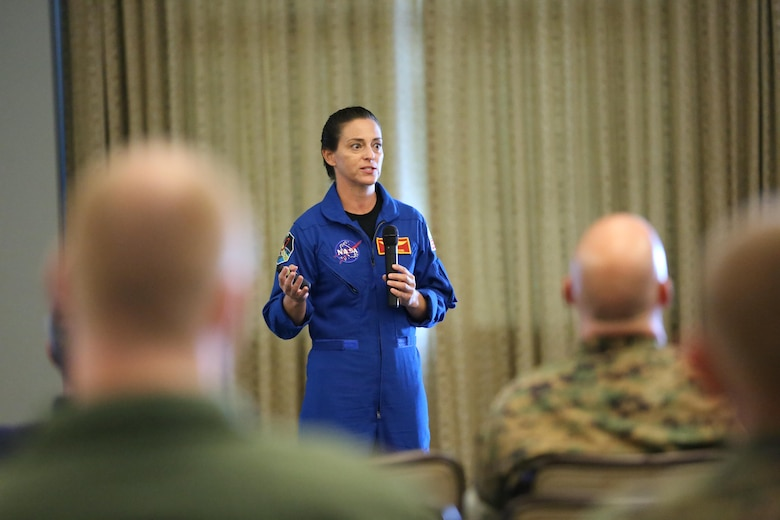 "Lt. Col. Nicole ""Duke"" Mann hosts a seminar aboard Marine Corps Air Station Cherry Point, N.C., Oct. 11, 2016. The seminar was open to all Marines aboard the air station. Mann covered many topics including her background, the path she took to become an astronaut, what NASA is accomplishing currently and what the future holds for potential astronauts. ""I've been to Cherry Point many times, but only when refueling,"" said Mann. ""It's amazing to be back around Marines because NASA is a lot different from the Marine Corps. So it's a breath of fresh air to hang out with some of the Marines here and talk to them about what it takes to become an astronaut."" Mann is currently the Marine Corps' only active duty astronaut. (U.S. Marine Corps photo by Lance Cpl. Mackenzie Gibson/Released)"