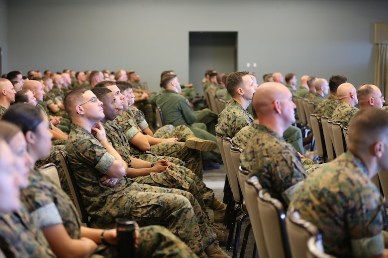 "Marines from various units attend a seminar hosted by Lt. Col. Nicole ""Duke"" Mann aboard Marine Corps Air Station Cherry Point, N.C., Oct. 11, 2016. The seminar was open to all Marines aboard the air station. Mann covered many topics including her background story, the path she took to become an astronaut, what NASA is accomplishing currently and what the future holds for potential astronauts. ""I've been to Cherry Point many times, but only when refueling,"" said Mann. ""It's amazing to be back around Marines because NASA is a lot different from the Marine Corps. So it's a breath of fresh air to hang out with some of the Marines here and talk to them about what it takes to become an astronaut."" Mann is currently the Marine Corps' only active duty astronaut. (U.S. Marine Corps photo by Lance Cpl. Mackenzie Gibson/Released)"