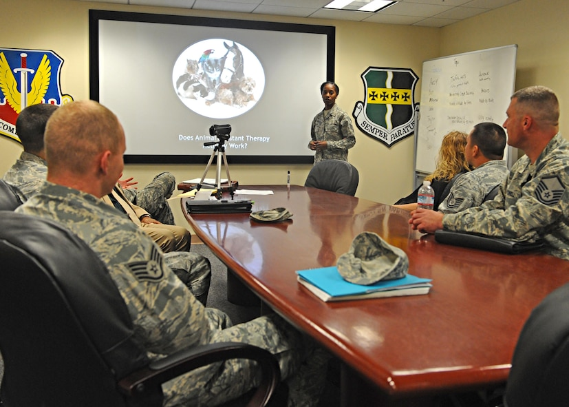 Staff Sgt. Javita Cotton, 9th Civil Engineer Squadron HVAC journeyman, gives a presentation during a public speaking course at Beale Air Force Base, California, Oct. 11, 2016. This course is provided by Yuba College and a first of its kind to be offered on base during the duty day. (U.S. Air Force photo/ Senior Airman Ramon A. Adelan)