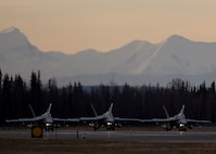 U.S. Marine Corps F/A-18C Hornets assigned to Marine Fighter Attack Squadron (VMFA) 232 out of Marine Corps Air Station Miramar, Calif., line up at the end of the Eielson Air Force Base, Alaska, runway Oct. 10, 2016, for the first combat training mission of RED FLAG-Alaska (RF-A) 17-1. RF-A is a series of Pacific Air Forces commander-directed field training exercises for U.S. and partner nation forces, which enables U.S. Marines in units like VMFA-232 to prepare for future combat and contingency operations in a realistic threat environment inside the largest instrumented air, ground and electronic combat training range in the world. (U.S. Air Force photo by Master Sgt. Karen J. Tomasik)