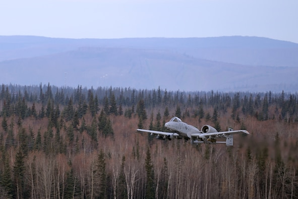 A U.S. Air Force A-10 Thunderbolt II attack aircraft assigned to the 25th Fighter Squadron out of Osan Air Base, Republic of Korea, takes off from Eielson Air Force Base, Alaska, Oct. 10, 2016, during the first combat training mission of RED FLAG-Alaska (RF-A) 17-1. RED FLAG training in Alaska signifies continued commitment to the Indo-Asia-Pacific region through a series of Pacific Air Forces commander-directed field training exercises for U.S. and partner nation forces, enabling joint and international units to sharpen their combat skills by flying simulated combat sorties in a realistic threat environment inside the Joint Pacific Alaska Range Complex. (U.S. Air Force photo by Master Sgt. Karen J. Tomasik)