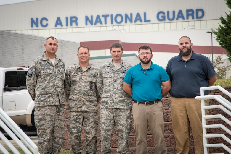 The North Carolina Air National Guard, 145th Civil Engineer Squadron was selected as recipients of the 2016 Federal Energy and Water Management Award by the Federal Energy Management Program (FEMP) September 2016. The team is made up of NCANG members and civilian employees including Senior Master Sgt. Jason Huffstetler, Lt. Col. Milton Addison, Capt. James Eaton, Mr. Caleb Chambers and Mr. Christopher Bryant. The award recognizes individuals and organizations for significant contributions to energy and water efficiency within the federal government. (U.S. Air National Guard photo by Staff Sgt. Paul Porter)