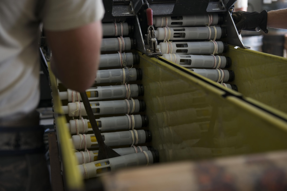 A U.S. Airman assigned to the 447th Expeditionary Aircraft Maintenance Squadron sorts 30mm rounds into a container Sept. 8, 2016, at Incirlik Air Base, Turkey. The rounds are used to supply the A-10 Thunderbolt II's GAU-8 Avenger 30mm cannon. (U.S. Air Force photo by Senior Airman John Nieves Camacho)