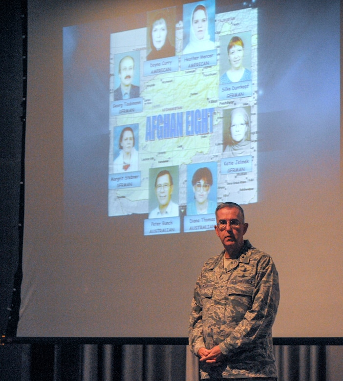 General John E. Hyten, Air Force Space Command commander, recalls his memories of the rescue mission of the Afghan Eight to Airmen assigned to the 691st Cyberspace Operations Squadron and 460th Space Communications Squadron Detachment 1 at Ramstein Air Base, Germany, Oct. 4, 2016. Hyten believes that cyberspace Airmen that collected and disrupted adversary intelligence played a big part in the rescue mission, as many people thought they wouldn't be able to move without jeopardizing the lives of the captives, which included two American women. (U.S. Air Force photo by Staff Sgt. Timothy Moore)
