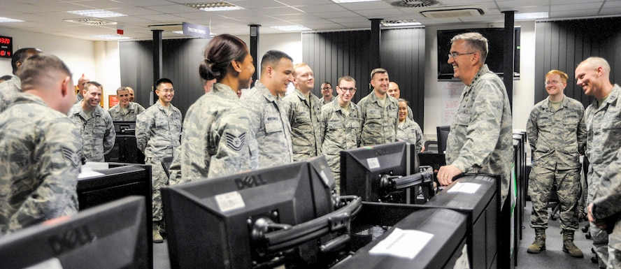 General John E. Hyten, Air Force Space Command commander, speaks with Airmen assigned to the 691st Cyberspace Operations Squadron at Ramstein Air Base, Germany, Oct. 4, 2016. The 691st COS was established in March 2016 with the deactivation of the 83rd Network Operations Squadron Detachment 4 and the 690th Network Support Squadron Detachment 1 under AFSPC. (U.S. Air Force photo by Staff Sgt. Timothy Moore)