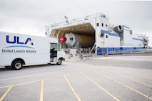 A United Launch Alliance shipment arrives at port via the Mariner Oct. 12, 2016 at Cape Canaveral Air Force Station, Fla. The 45th Space Wing worked with ULA to ensure operations resumed within a week following Hurricane Matthew. Due to the potential impact of the storm, CCAFS closed Oct. 6, 2016 to ensure the safety of the installation and personnel. According to ULA, the large cargo ship takes approximately eight days to transport the vehicle hardware from the Decatur, Ala., factory to the launch site along the Tennessee River to the open ocean. (U.S. Air Force photo/Matthew Jurgens)