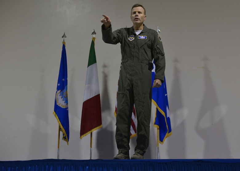 Gen. Tod D. Wolters, U.S. Air Forces in Europe - Air Forces Africa commander, speaks with Aviano Airmen on his mission priorities during an all call at Aviano Air Base, Italy on Oct. 13, 2016. Wolters spoke about trust, teamwork and training to achieve the Air Force mission. (U.S. Air Force photo by Airman 1st Class Cary Smith/Released)