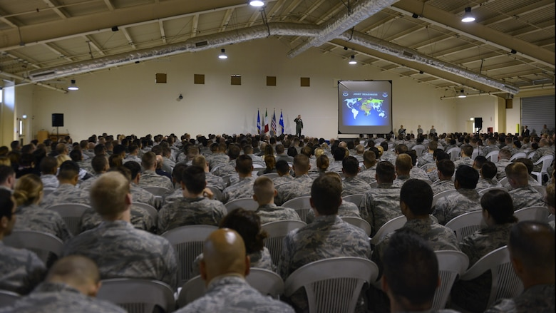 Gen. Tod D. Wolters, U.S. Air Forces in Europe - Air Forces Africa commander, speaks with Aviano Airmen on his mission priorities during his all call at Aviano Air Base, Italy on Oct. 13, 2016. Wolters spoke about trust, teamwork and training to achieve the Air Force mission. (U.S. Air Force photo by Airman 1st Class Cary Smith/Released)