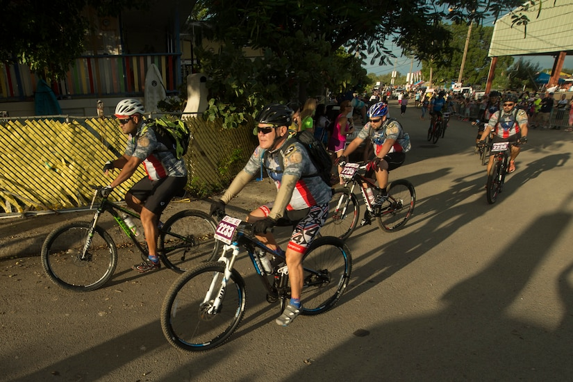 Veterans riding with the Warriors 4 Life veterans' group begin a 100-kilometer mountain bike ride in La Parguera, Puerto Rico, Aug. 14, 2016. DoD photo by EJ Hersom