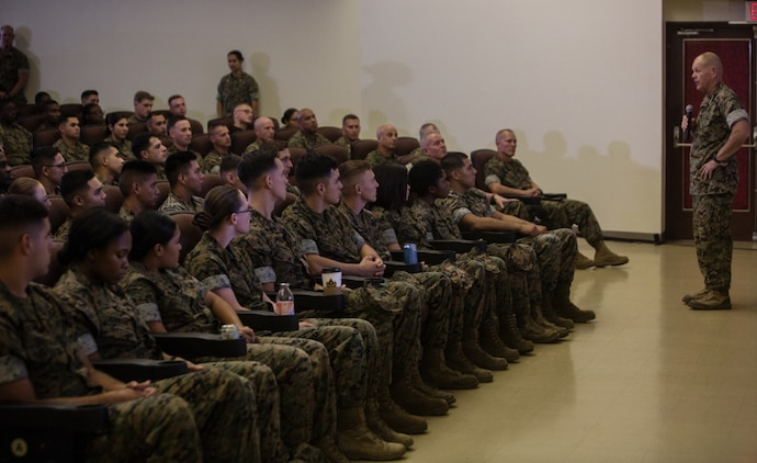 """Gen. Robert B. Neller is visiting III Marine Expeditionary Force to reinforce the importance of every Marine and Sailor and their role in continuing to be 'Forward, Faithful, Focused' on Camp Kinser, Okinawa, Japan, October 13, 2016. Whether responding to a crisis or natural disaster, III MEF continues to train to ensure its capabilities in keeping peace and security throughout the region. """"If I ask you if you are mentally ready to go fight, the answer should be yes,"""" said Neller. Neller, from East Lansing, Michigan, is the commandant of Marine Corps. (U.S. Marine Corps photo by Cpl. Jessica Etheridge / Released)"""