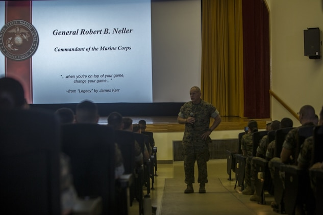 """Gen. Robert B. Neller is visiting III Marine Expeditionary Force to reinforce the importance of every Marine and Sailor and their role in continuing the mission of the 'Fight Tonight' MEF on Camp Kinser, Okinawa, Japan, October 13, 2016. Whether responding to a crisis or natural disaster, III MEF continues to train to ensure its capabilities in keeping peace and security throughout the region. """"We have a very capable Marine Corps"""" said Neller. """"Can we get better? Yes. Must we get better? Yes. Will we get better? Yes."""" Neller, from East Lansing, Michigan, is the commandant of Marine Corps. (U.S. Marine Corps photo by Cpl. Jessica Etheridge / Released)"""
