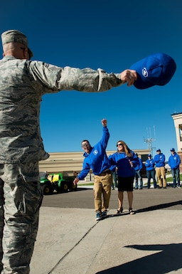 David Dunn (center), a 153rd Airlift Wing Student Flight trainee and future 