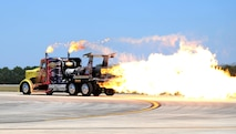 The Shockwave Jet Truck fires up its 12,000 horsepower jet engine on the flightline during the Thunder Over Georgia Air Show on Robins Air Force Base, Ga., Oct. 1, 2016. (U.S. Air Force photo/Tech. Sgt. Stephen D. Schester)