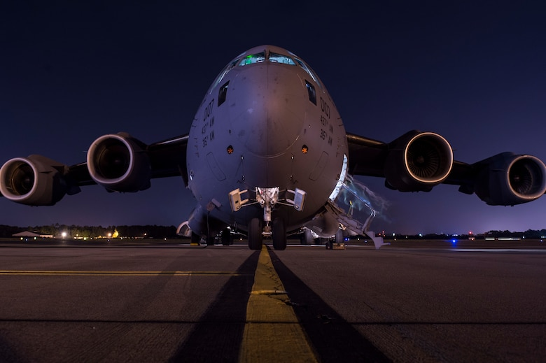 A C-17 Globemaster III sits on the flightline at Joint Base Charleston, S.C., Oct. 5, 2016. Joint Base Charleston C-17s evacuated to Fort Campbell, Ky., so they could continue their mission of rapid global mobility during Hurricane Matthew. (U.S. Air Force photo/Staff Sgt. Corey Hook)