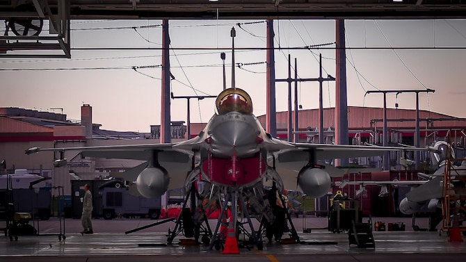 Oklahoma Air National Guard Airmen from the 138th Maintenance Squadron perform routine maintenance on an F-16 Fighting Falcon Oct. 6, 2016, in Tulsa, Okla. (U.S. Air National Guard photo/Tech. Sgt. Drew A. Egnoske)
