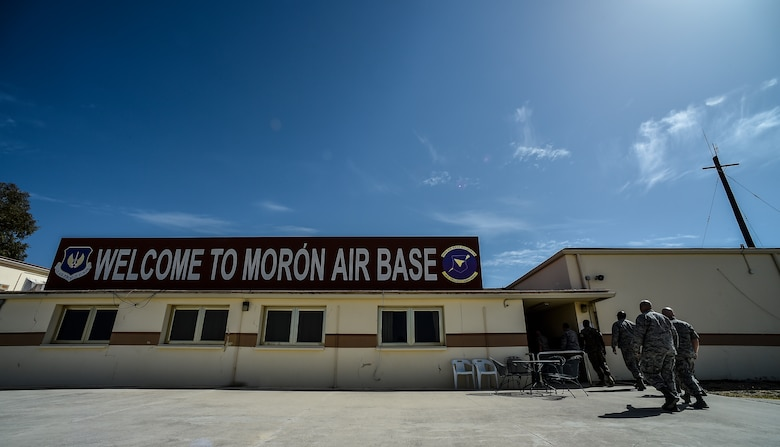 Leaders from the 86th Airlift Wing, at Ramstein Air Base, Germany, tour Morón Air Base, Spain, Oct. 4, 2016. With a unit of only 600 personnel, Airmen at Morón make up only 25 percent of that population. Team Morón is comprised of U.S. Airmen, Marines and Spanish air force members, who operate together to keep wheels off the ground and in the fight. The 496th Air Base Squadron, a geographically-separated unit from the 86th AW, provides a worldwide platform for air power. (U.S. Air Force photo by Senior Airman Nicole Keim)
