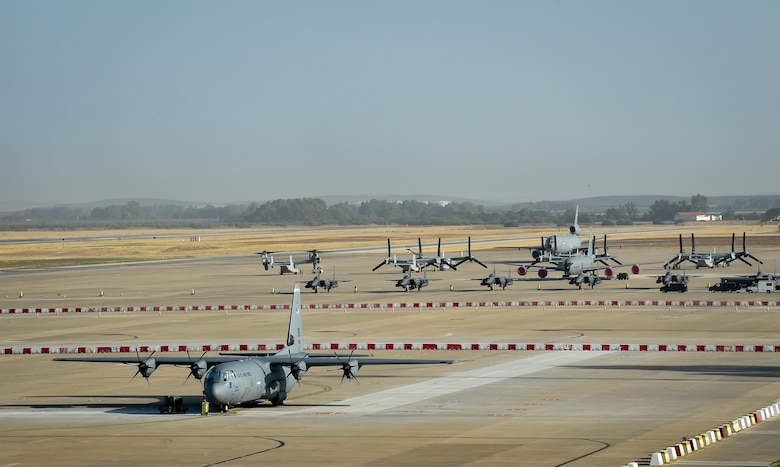 Aircraft are parked on the flightline at Morón Air Base, Spain, Oct. 4, 2016. With a unit of only 600 personnel, Airmen at Morón make up only 25 percent of that population. Team Morón is comprised of U.S. Airmen, Marines and Spanish air force members, who operate together to keep wheels off the ground and in the fight. The 496th Air Base Squadron, a geographically-separated unit from the 86th Airlift Wing, Ramstein Air Base, Germany, provides a worldwide platform for air power. (U.S. Air Force photo by Senior Airman Nicole Keim)