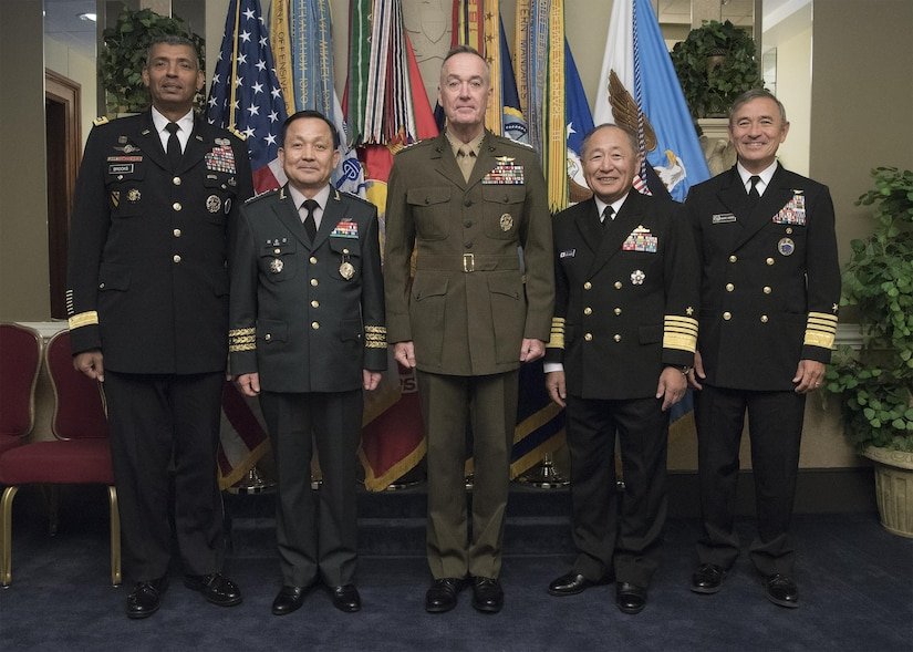 From left: Army Gen. Vincent K. Brooks, commander of Combined Forces Command and U.S. Forces Korea; South Korean Chairman Army Gen. Lee Sun-jin; Marine Corps Gen. Joe Dunford, chairman of the Joint Chiefs of Staff; Japanese Chief of Defense Adm. Katsutoshi Kawano; and U.S. Pacific Command commander, Navy Adm. Harry B. Harris Jr., pose for photograph at the Pentagon, Oct. 14, 2016. The senior military leaders met to discuss trilateral collaboration in order to respond to increasing North Korean nuclear and missile threats. DoD photo by Navy Petty Officer 2nd Class Dominique Pineiro