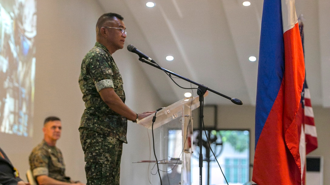 Philippine Marine Maj. Gen. Andre M. Costales Jr. speaks during the Philippine Amphibious Landing Exercise 33 closing ceremony at Marine Barracks Rudiardo Brown, Taguig City, Philippines, Oct. 11, 2016. PHIBLEX is an annual U.S.-Philippine military bilateral exercise that combines amphibious capabilities and live-fire training with humanitarian civic assistance efforts to strengthen interoperability and working relationships. Costales is the 29th Commandant of the Philippine Marine Corps.
