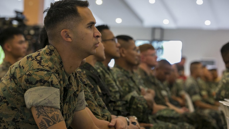 U.S. and Philippine Marines attend the Philippine Amphibious Landing Exercise 33 closing ceremony at Marine Barracks Rudiardo Brown, Taguig City, Philippines, Oct. 11, 2016. PHIBLEX is an annual U.S.-Philippine military bilateral exercise that combines amphibious capabilities and live-fire training with humanitarian civic assistance efforts to strengthen interoperability and working relationships.