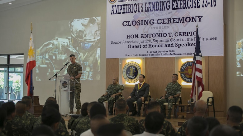 U.S. Marine Brig. Gen. John M. Jansen speaks during the Philippine Amphibious Landing Exercise 33 closing ceremony at Marine Barracks Rudiardo Brown, Taguig City, Philippines, Oct. 11, 2016. PHIBLEX is an annual U.S.-Philippine military bilateral exercise that combines amphibious capabilities and live-fire training with humanitarian civic assistance efforts to strengthen interoperability and working relationships. Jansen is the commanding general of 3d Marine Expeditionary Brigade.