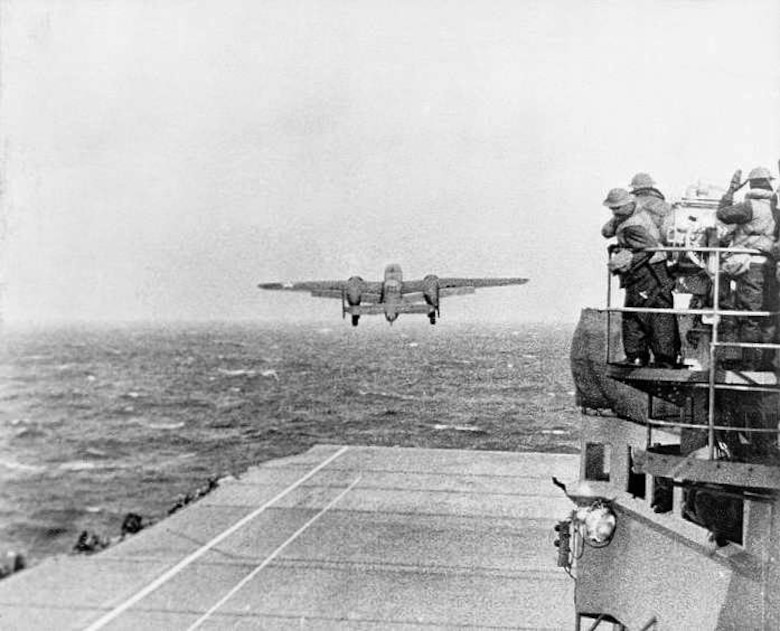 A B-25 Mitchell takes off from the USS Hornet in route to Japan during World War II in April 1942. The Doolittle Raiders were instrumental in retaliatory strikes after Japan attacked Pearl Harbor December 7, 1941. In their honor, the new B-21 bomber has been named the Raider. (Courtesy photo)