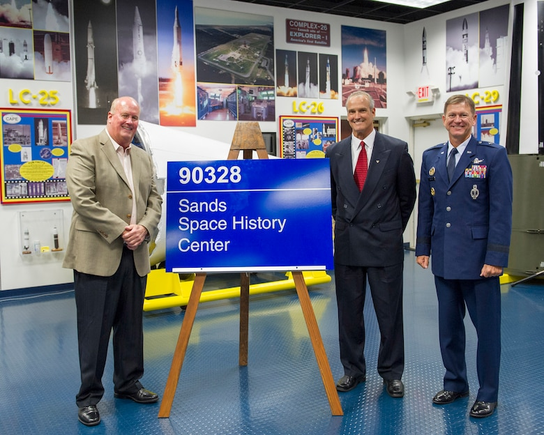 The Air Force Space & Missile History Center near the Cape Canaveral Air Force Station South Gate was renamed the Sands Space History Center during an official ceremony today in the history center's main hall.