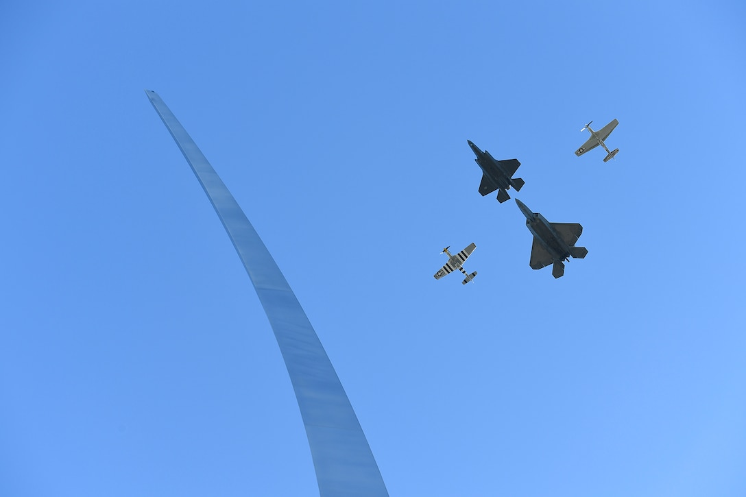A four-ship formation performs a flyover during the Air Force Memorial's 10th anniversary ceremony in Arlington, Va., Oct. 14, 2015. (U.S. Air Force photo/Scott M. Ash)