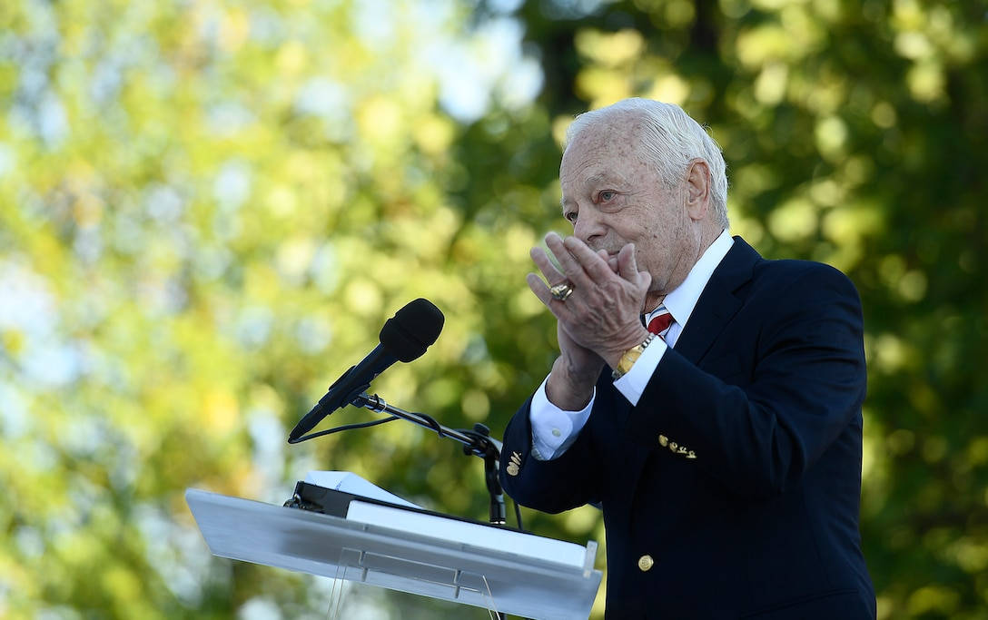 Bob Schieffer, a broadcast journalist and Air Force veteran, speaks during the Air Force Memorial's 10th anniversary ceremony in Arlington, Va., Oct. 14, 2016.  (U.S. Air Force photo/Scott M. Ash)