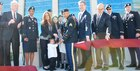 Officials cut the ribbon at the new Irwin Army Community Hospital, Fort Riley, Oct. 12, 2016.  Participants included Kansas Governor Sam Brownback ;  Col. John Melton, IACH commander; Brig. Gen. William Turner, deputy commanding general for support, 1st Infantry Division; Maj. Gen. Thomas Tempel, commander of Regional Health Command-Central; Col. John Lawrence, Fort Riley garrison commander; Kansas Senator Pat Roberts; Kansas Senator Jerry Moran; Dr. John Fahey, Irwin family biographer; and Karlie Parinas, an employee of Child, Youth and School Services and wife of Sgt. Jess Parinas, 1st Battalion, 7th Field Artillery Regiment, 2nd Armored Brigade Combat Team, 1st Infantry Division, and their family; and more.