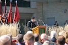 """During a ribbon cutting ceremony at the new Irwin Army Community Hospital, Fort Riley, Oct. 12, 2016,  Col. John Melton, IACH commander, spoke about the new facility. """"This new hospital represents the unwavering commitment of our nation and military for those who serve and the families who share in that service."""""""