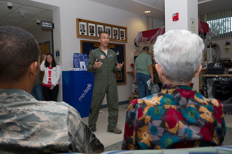 Col. Houston Cantwell, the 49th Wing commander, speaks during the 49th Medical Group pharmacy's medication return container unveiling ceremony, Oct. 14, 2016. Cantwell spoke about the importance of taking care of people at Holloman. (U.S. Air Force photo by Tech. Sgt. Matthew Rosine.)