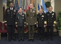 From left: Commander, Combined Forces Command, Gen. Vincent Brooks;  ROK Chairman General Sun Jin Lee;  Chairman of the Joint Chiefs of Staff Gen. Joseph F. Dunford; Japanese Chief of Staff Adm. Katsutoshi Kawano; and Commander, U.S. Pacific Command Adm. Harry B. Harris. The senior military leaders met at the Pentagon Oct. 14 to discuss trilateral collaboration in order to respond to increasing North Korean nuclear and missile threats.