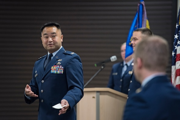Maj. Daniel Nigolian assumed command of the 176th Logistics Readiness Squadron at a ceremony on Joint Base Elmendorf-Richardson, Alaska, Sep. 15, 2016. In June of 2016, Nigolian joined the 176th Wing, Alaska Air National Guard, from active duty service. The 176th LRS, a component of the 176th Mission Support Group, is divided into six sections — transportation, distribution, management and systems, fuels management, logistics plans, and ariel port. (U.S. Air National Guard photo by Staff Sgt. Edward Eagerton/released)