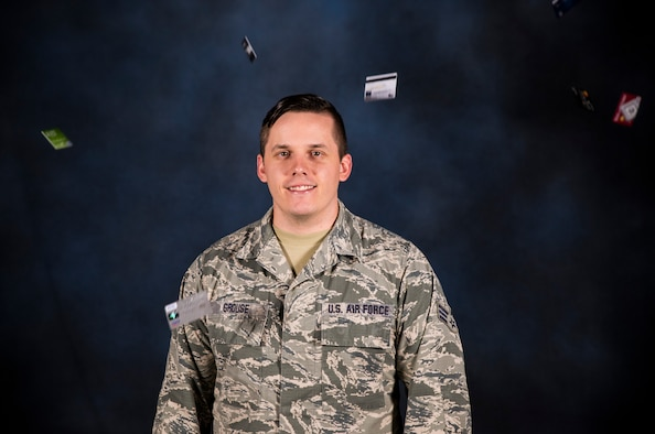Senior Airman Chase Grouse, 188th Wing financial management technician, is selected for the October Flying Razorback Spotlight Oct. 12, 2016, at Ebbing Air National Guard Base, Fort Smith, Ark. Grouse joined the unit in 2009 and is working towards completing his Bachelor's degree in finance and pursue commission opportunities. (U.S. Air National Guard photo by Senior Airman Cody Martin)